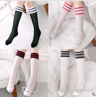 241ea562dac Kids Knee High Summer Socks For Girls Boys Football Stripes Cotton Sports Old  School White Socks Skate Children Baby Long Tube Leg Warm Stance Usa Socks  ...