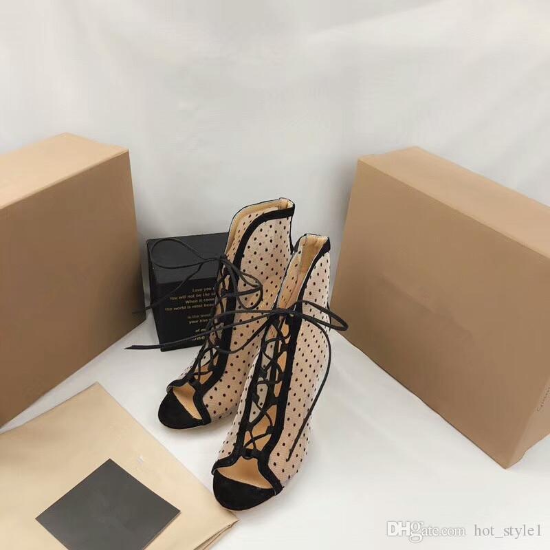 نمط جديد المرأة الأزياء زقزقة أصابع شبكة الدانتيل عالية الكعب النساء خنجر كعب الجوف خارج الرباط تنفس واحدة عالية الكعب النساء حزب الأحذية