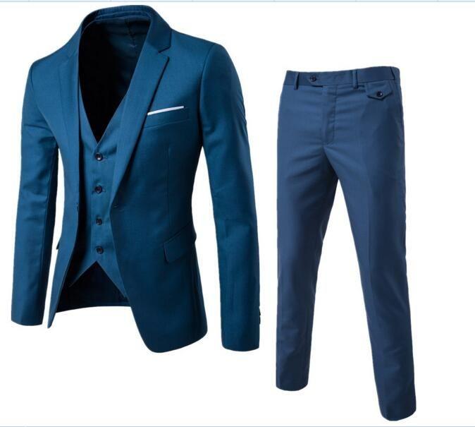 Reine Farbe Männer Lange ärmeln Blazer Mit Anzug Westen Und Anzug Hose S-3xl Größe Elegante Form Anzüge