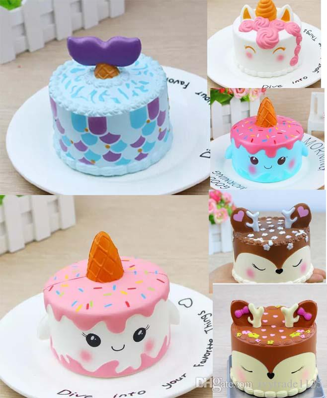 6 Styles Super Soft Squishy Slow Rising Unicorn Mermaid Tail Cake Scented Squishies Deer Jumbo Toys Squeeze Decompression Toy