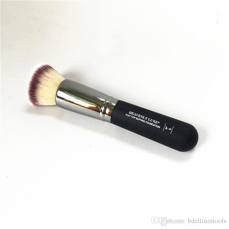 Cennet Luxe Düz Üst Parlatıcı Vakfı Fırça # 6 - Kalite Kontur BB Sıvı / Krem Güzellik Makyaj Fırçaları Blender Araçları