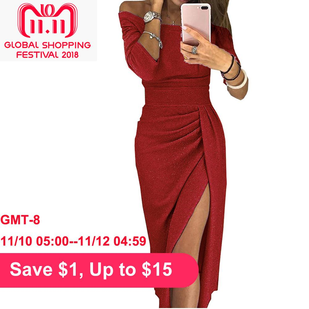 7c2aa3d46f84 Sexy Women Shiny Knitted Dress Off Shoulder Slash Neck 3 4 Sleeves Ruched  Irregular Hem Thigh Slit Bodycon Club Party Maxi Dress Party Dresses Junior  Short ...