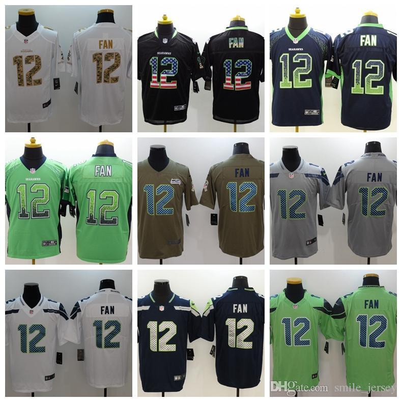 59a38d99b New Mens 12 12th Fan Seattle Jersey Seahawks Football Jersey 100 ...