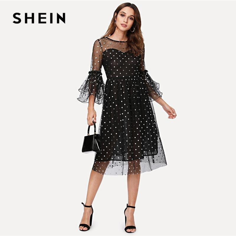 64840681d2 SHEIN Black Elegant Party Classic Streetwear Polka Dot Tiered Ruffle Sleeve  Semi Sheer High Waist Dress Autumn Women Goth Dress Quinceanera Dresses  Dresses ...
