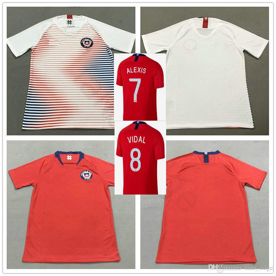 super popular 3a20b 45398 2018 Thai Quality Chile Football Jerseys 7 Alexis Sanchez 8 VIDAL MORA  CONTRERAS CAMPOS PINILLA VARGAS Customize Red White Soccer Shirt