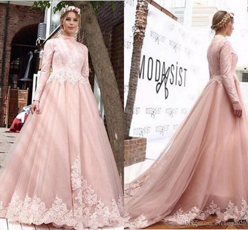 941597f07053 Discount Simple And Elegant 2018 A Line Pink Wedding Dresses Long Sleeves  High Neck Middle East Arabic Bridal Dresses With Appliques Hot A Line  Strapless ...