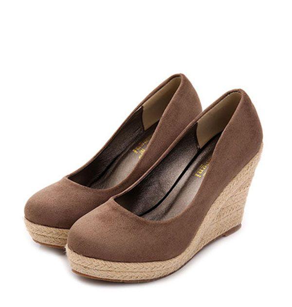 b87b839eb3f espadrilles wedges women shoes Pumps Suede Lady platform Shoes Round Toe  Party Slip on Fashion high heel Shoes