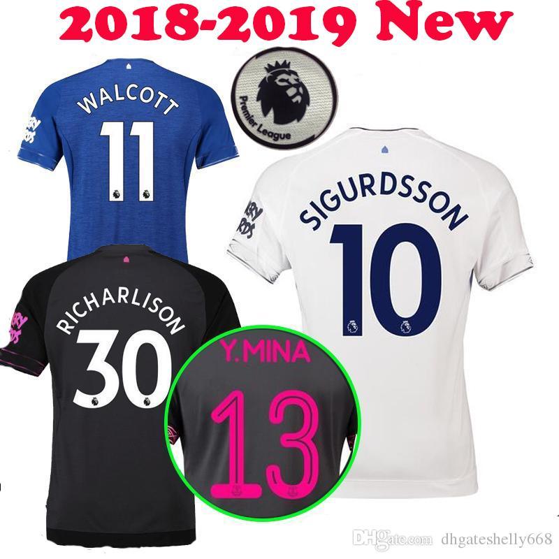 e8836bca3 18 19 Everton Soccer Jersey DIGNE 2018 2019 André Gomes Mina Walcott ...