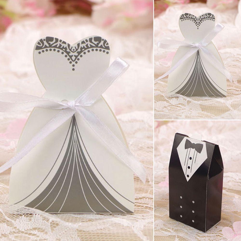 Wedding Favour Boxes Candy Gift Bag Bride Groom Dress Tuxedo
