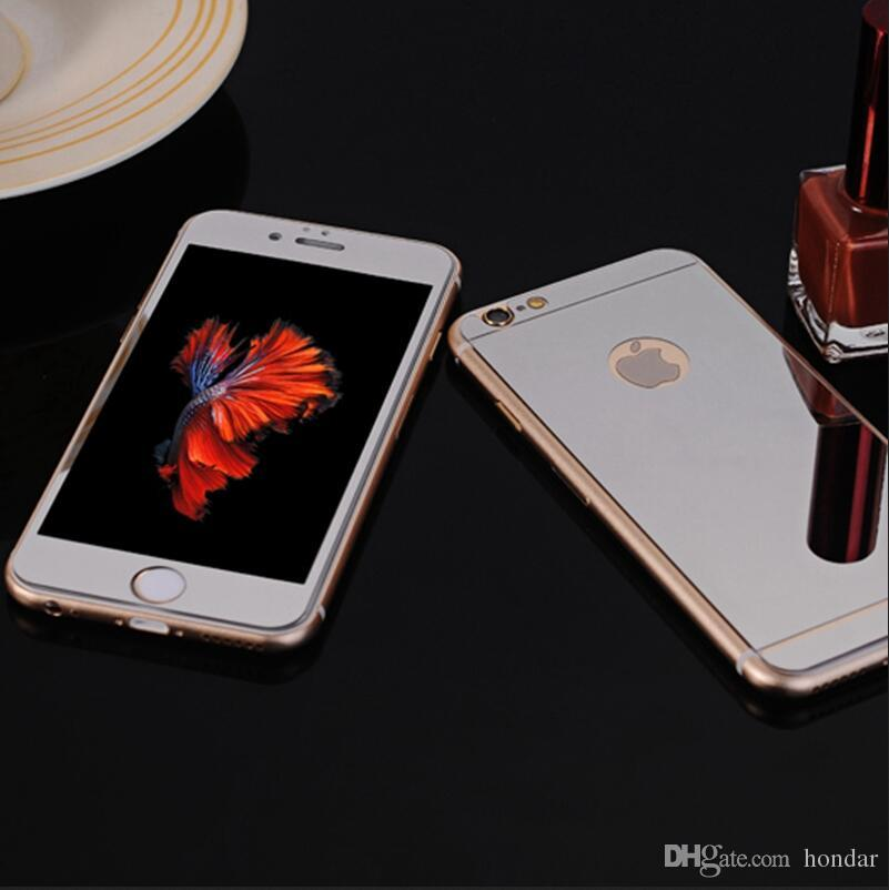 For Iphone 5s tempered glass Front+Back With LOGO Hole Mirror Tempered Glass Screen Protector Color Plate Film NO LOGO