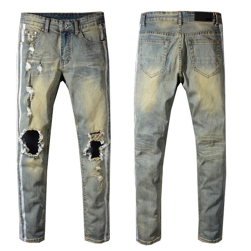 4e95c361914b Compre Estilo Nuevo De Italia # 5323 # Hombre Pantalones Ahuecados  Desgastados Laterales Plateados Vaqueros Pitillo Azules Pantalones Delgados  Talla 28 40 A ...