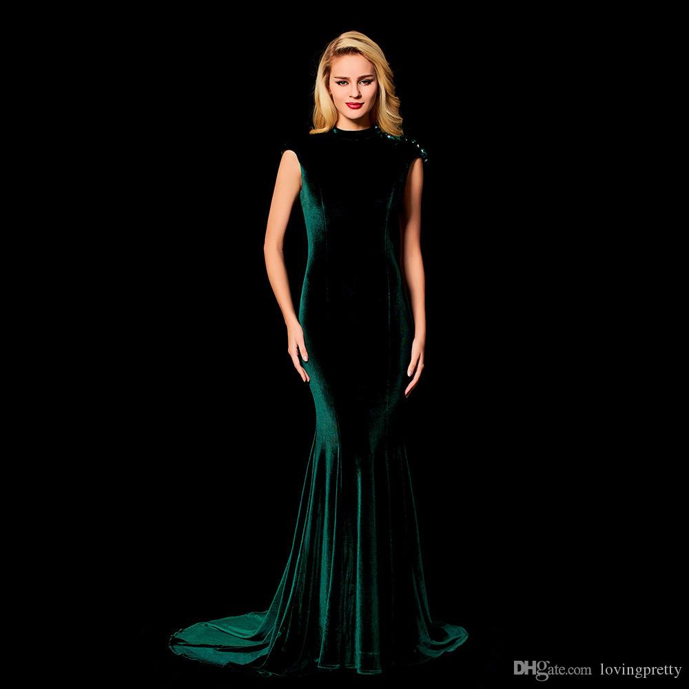 JaneVini Vintage Dark Green Long Evening Dresses Mermaid 2018 Vintage High  Neck Sleeveless Sequins Beads Sweep Train Women Formal Party Wear Long  Dresses ... 3f02da7a9fa6