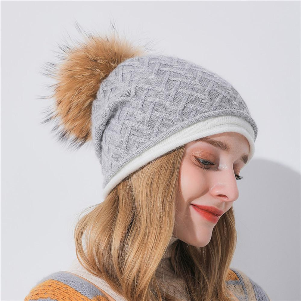 2018 Women S Winter Soft Knitted Beanie Hat Real Braided Cashmere Knit Hat  Comfortable Stretch Fabric Cowboy Hats Stetson Hats From Clintcapela b07524c7413