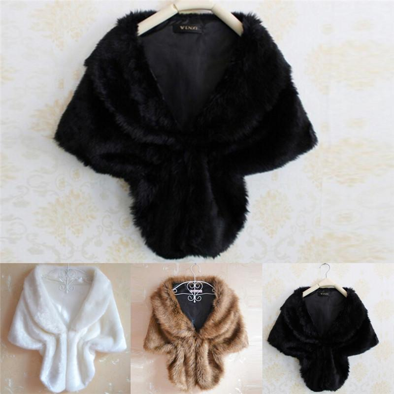 Women Lady Plush Faux Fur Shawl Wrap Bridal Wedding Jacket Gilet Stole Waistcoat Bolero Shrug Cape Black White Brown