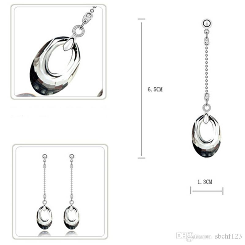 Fashion Accessories Crystal From Swarovski Elements Necklaces Long Dorp Earrings Set For Women Wedding Luxury Jewelry Sets