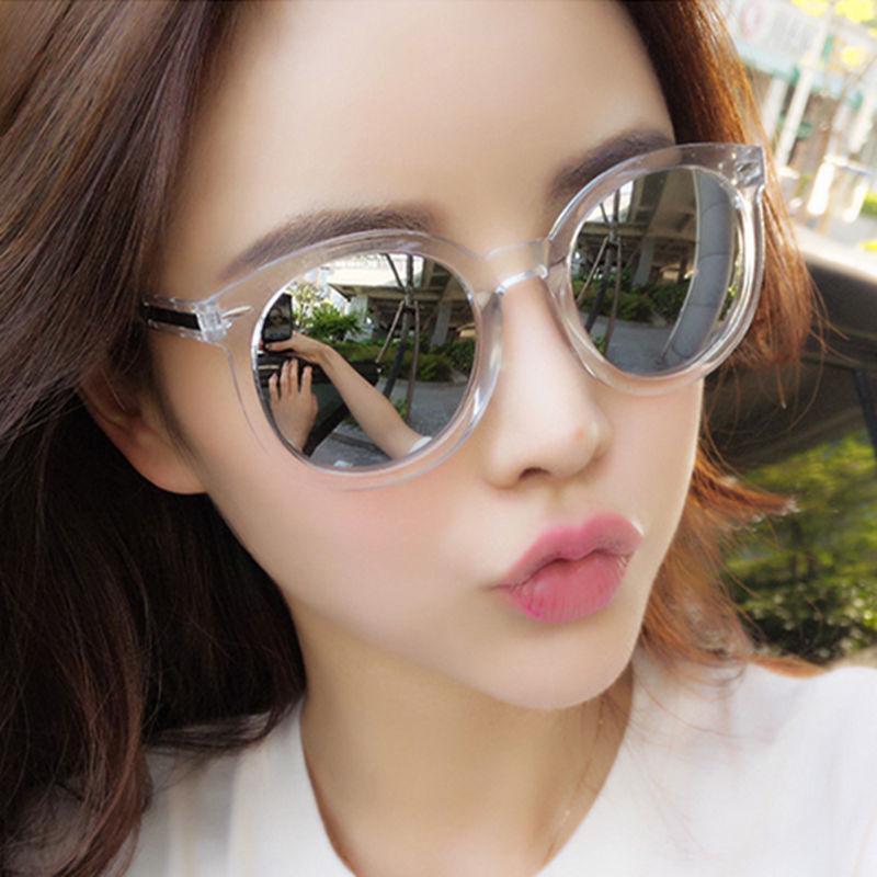 0ff592a89 Compre Vazrobe Feminino Rodada Óculos De Sol Espelhado Rosa Prata Reflexivo  Óculos De Sol Para Mulher Seta Rosto Grande Uv400 Transparente De Jutie, ...