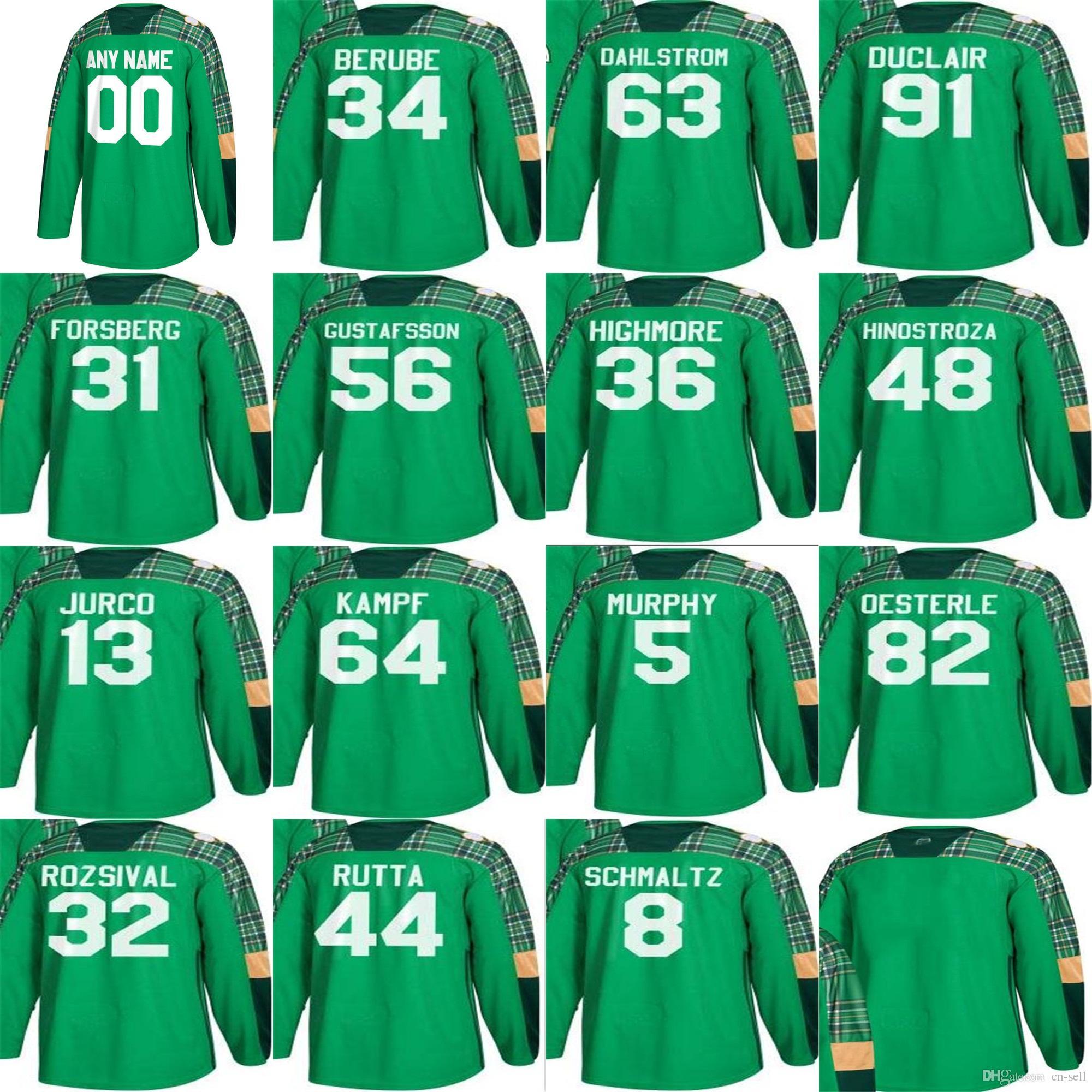 new style c7f01 e9218 Mens 2018 Chicago Blackhawks 63 Carl Dahlstrom 34 Jean-Francois Berube 31  Anton Forsberg Jurco Green St. Patricks Day Custom Hockey Jerseys