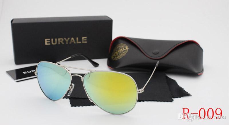 Yüksek Kaliteli Güneş Gözlüğü Erkekler Kadınlar Klasik Güneş Gözlüğü Pilot Gözlük Gölge Gölge Ayna UV400 Gözlük Gözlük Eski Güneş Gözlükleri Kutu ...