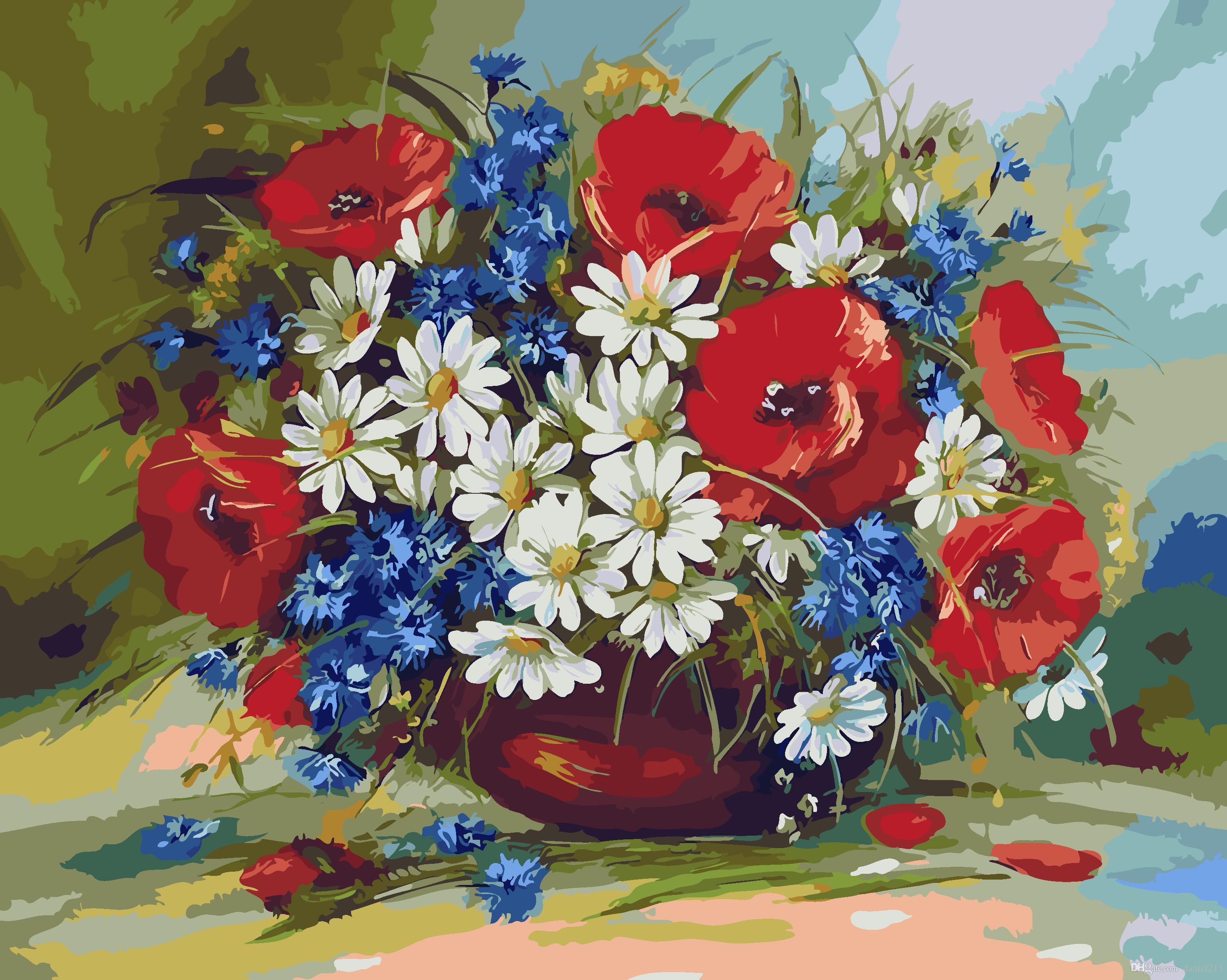 16x20 Zoll Mohnblumen Und Gänseblümchen In Der Flasche Diy Malen Auf Leinwand Zeichnung Von Zahlen Kits Kunst Acryl ölgemälde Rahmen Für