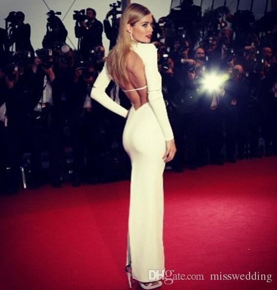 100% High Quality White Long Sleeve Fashion Dress Sexy Backless Celebrity Long Prom Dress