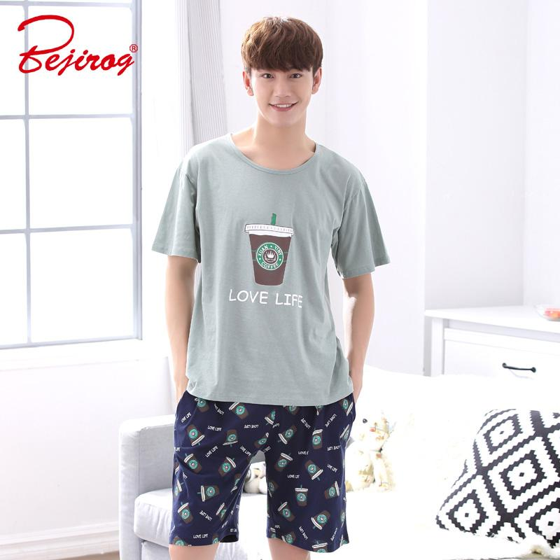 2019 Bejirog Short Sleeved Sleep Clothing Nightwear Men Pajamas Set Casual  Nighties Cotton Sleepwear Summer Male Lounge Fashion Suit From Roberr 4bb9d2499