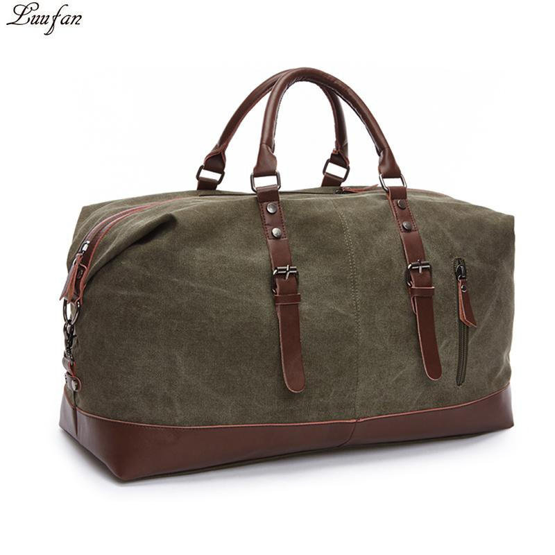 6e741ea78e Fashion Canvas Leather Men Travel Bags Carry On Luggage Bags Men Duffel  Travel Tote Large Weekend Bag Overnight Big Duffle Over The Shoulder Bags  Online ...