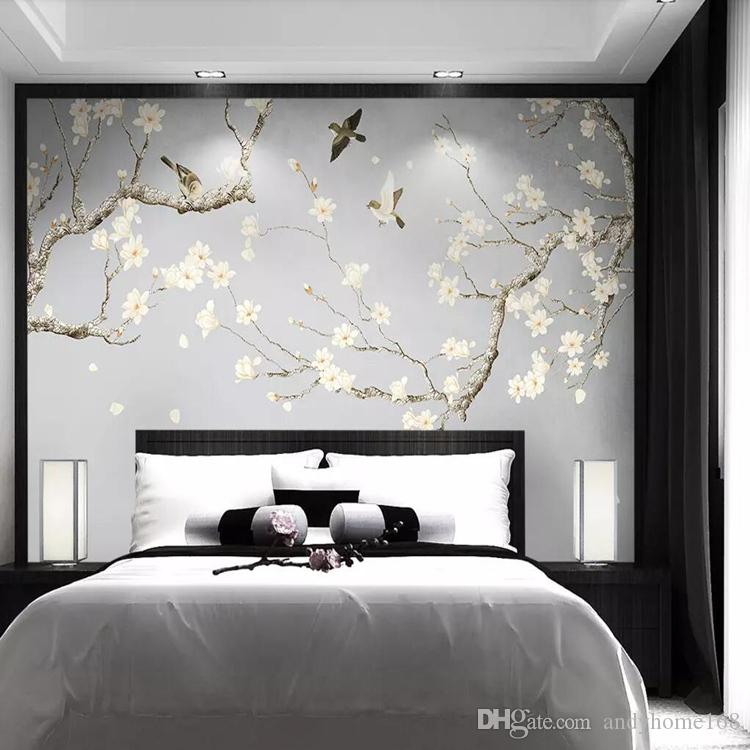 3d Hand Painted Jade Orchid Bird Wallpaper New Chinese Tv Background Wall Painting Fresh And Elegant Bedroom Plain Wallpaper