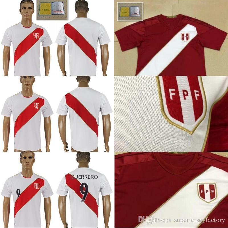 567f56270 2018 World Cup Men s Home Peru Soccer Jersey 9 GUERRERO 10 FARFAN 20 ...