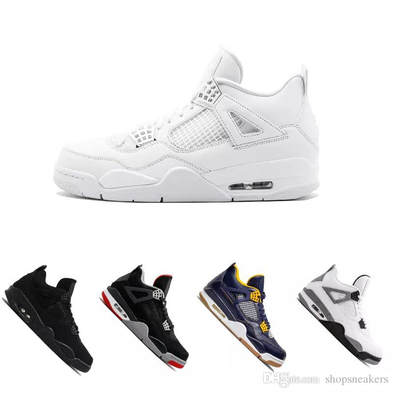 half off 8ff5a b0b8a New 4 4s Men Basketball Shoes Royalty Pure Money White Cement Bred  Alternate Motorsport Military Blue Fire Red Oreo Premium Black Sneaker 4s  Sneakers ...