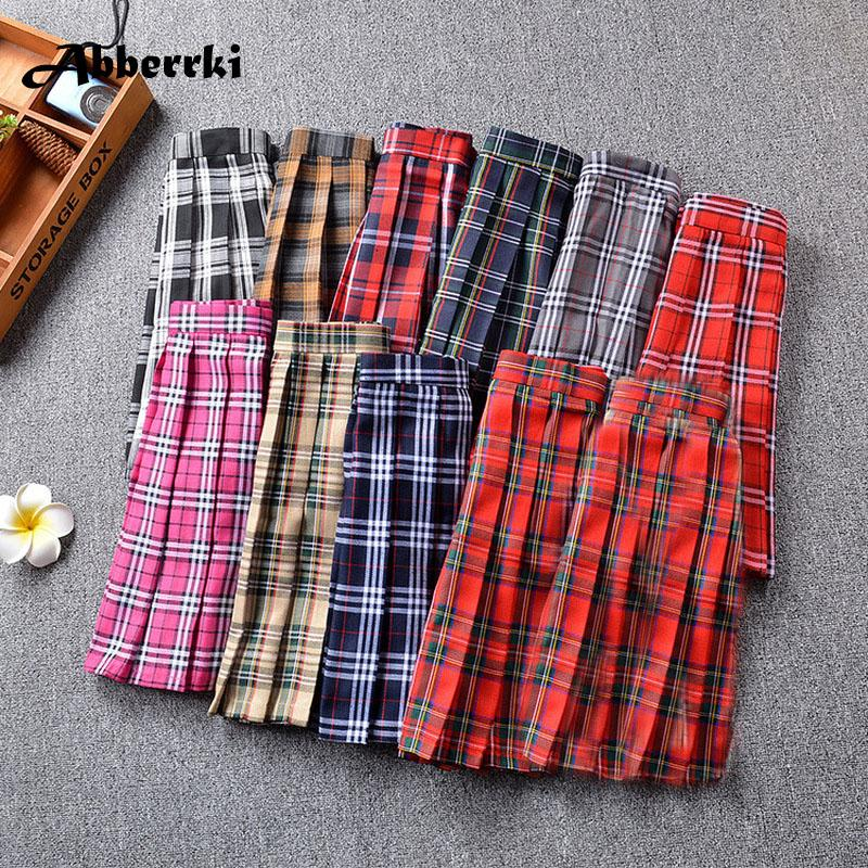 dbf2740c8aa 2019 Harajuku Cosplay Women High Waist Cute Pleated Skirt Plus Size England  Plaid Sexy Mini Skirt School Girl Uniforms Saias From Kennethy