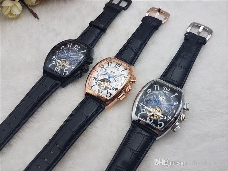 Luxury Tourbillion Watch Mens Chronograph New Japanese Mechanical Stainless Steel Mens Watches Phase Wrist watch Free Shipping