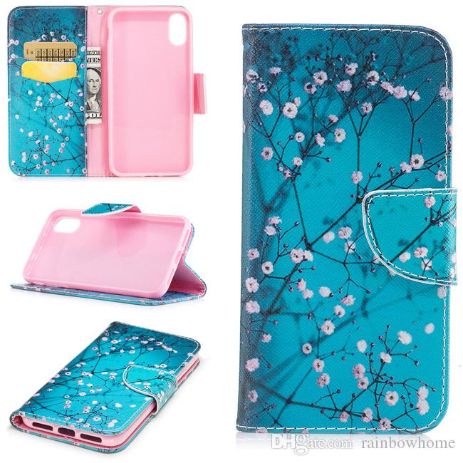 Painted Flowers Butterfly Giraffe Pouch Don't Touch PU Leather Stand Wallet Case for iphone XS Max 8 Plus Galaxy S9 Huawei Mate 20