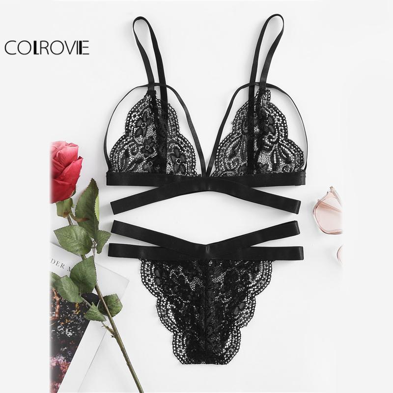 661bfa0fc9d25 2019 COLROVIE Scallop Edge Strappy Lingerie Set Sexy Underwear Women ...