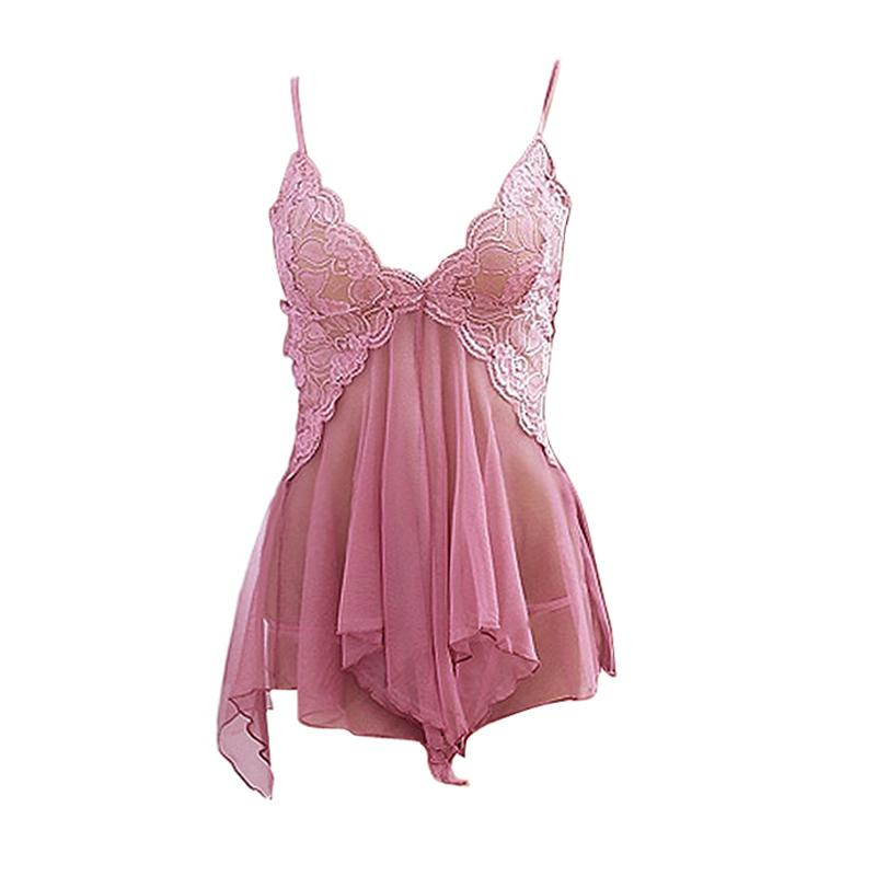 New Sexy Intimo Sleepwear Deep scollo a V Bretelle Gonna Lingerie Lingerie Intimo Sleepwear Camicia da notte Pajams + T-back -27
