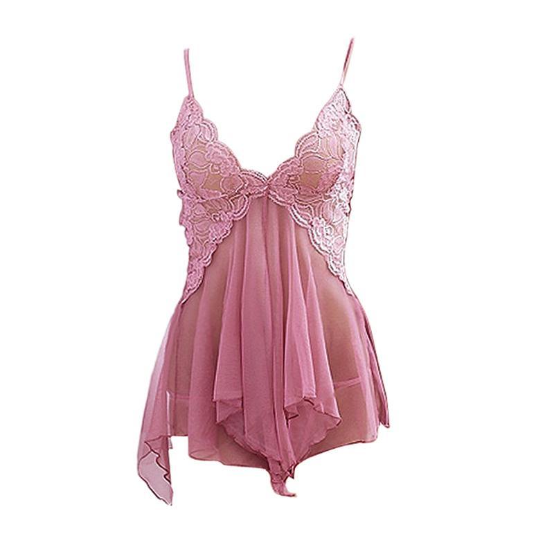 New Sexy Underwear Sleepwear Deep V-neck Braces Skirt Lace Lingerie Underwear Sleepwear Nightgown Pajams + T-back -27