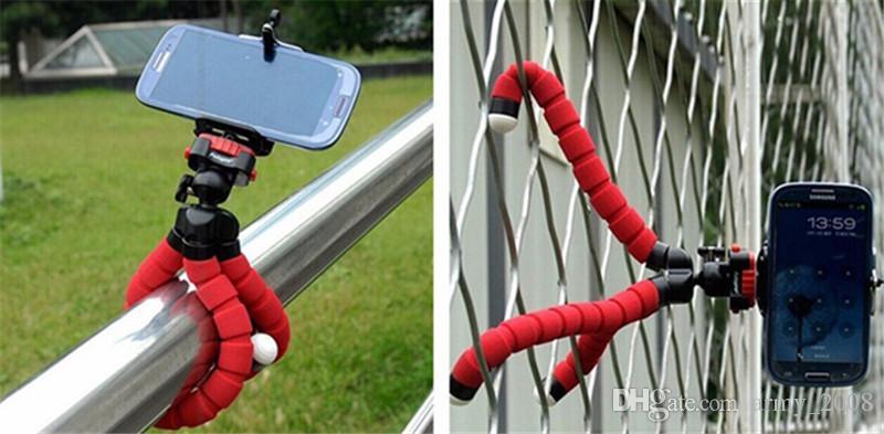 Mini flexible soporte de la cámara del teléfono pulpo flexible del trípode soporte del sostenedor del soporte del montaje del Monopod labra los accesorios