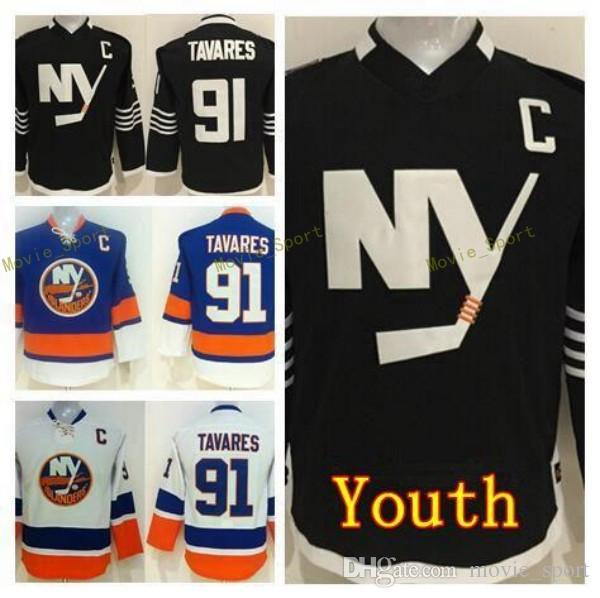 new arrival 6b8b1 814cd Youth John Tavares Jersey 91 Kids New York Islanders Ice Hockey Jerseys  Children Home Blue Alternate Black White For Sport Fans