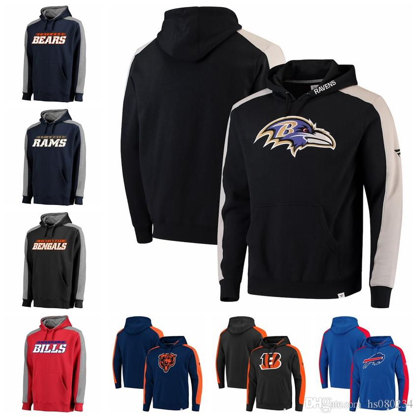 2a1d952ef Classic St. Louis Rams Cincinnati Bengals Chicago Bears Buffalo Bills  Baltimore Ravens Pro Line By Fanatics Branded Iconic Pullover Hoodie UK  2019 From ...