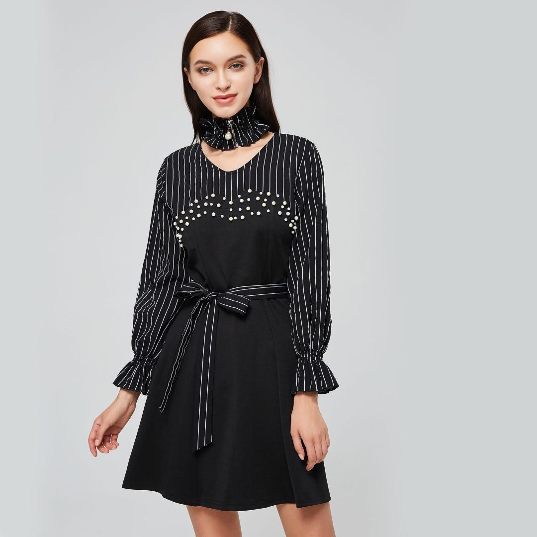 23f7af343dd Acheter Femmes Mini Robes Noir Gothique Bureau Lady Aline Taille Haute  Stripe Couleur Bloc Femme Casual Hiver Douce Élégante Robe Courte De  30.17  Du ...