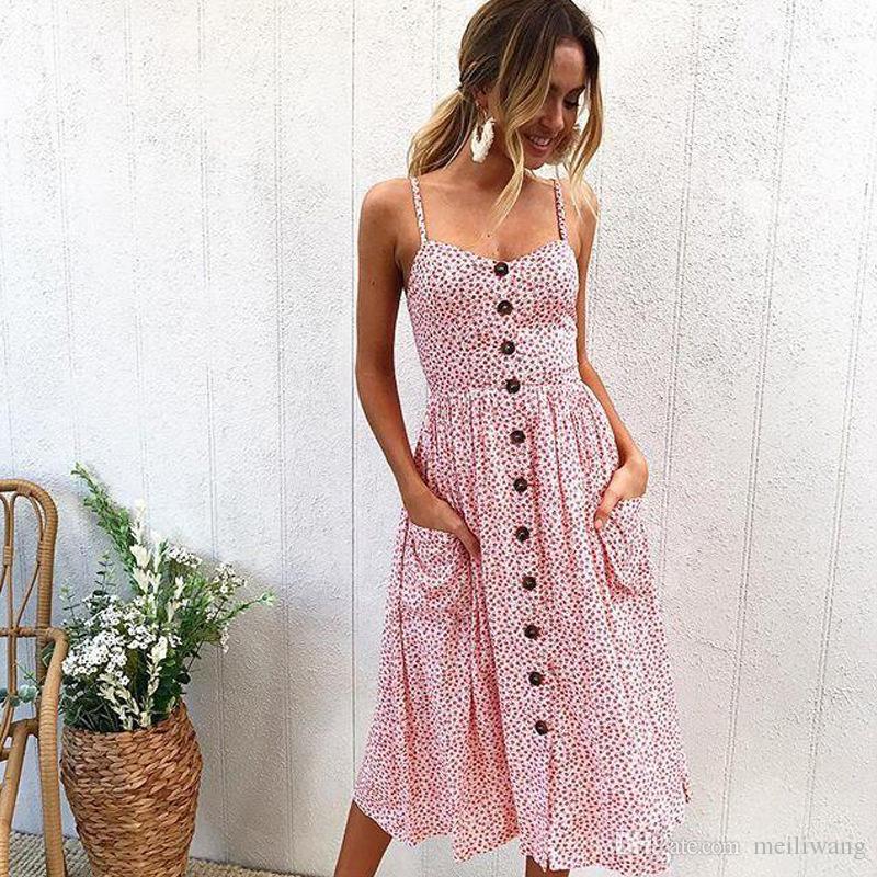 Sexy Verão Botão Praia Boho Vestido Bohemian Mulheres Floral Impressão Polka Dots Listrado Plus Size 3XL Vermelho Midi Vestidos