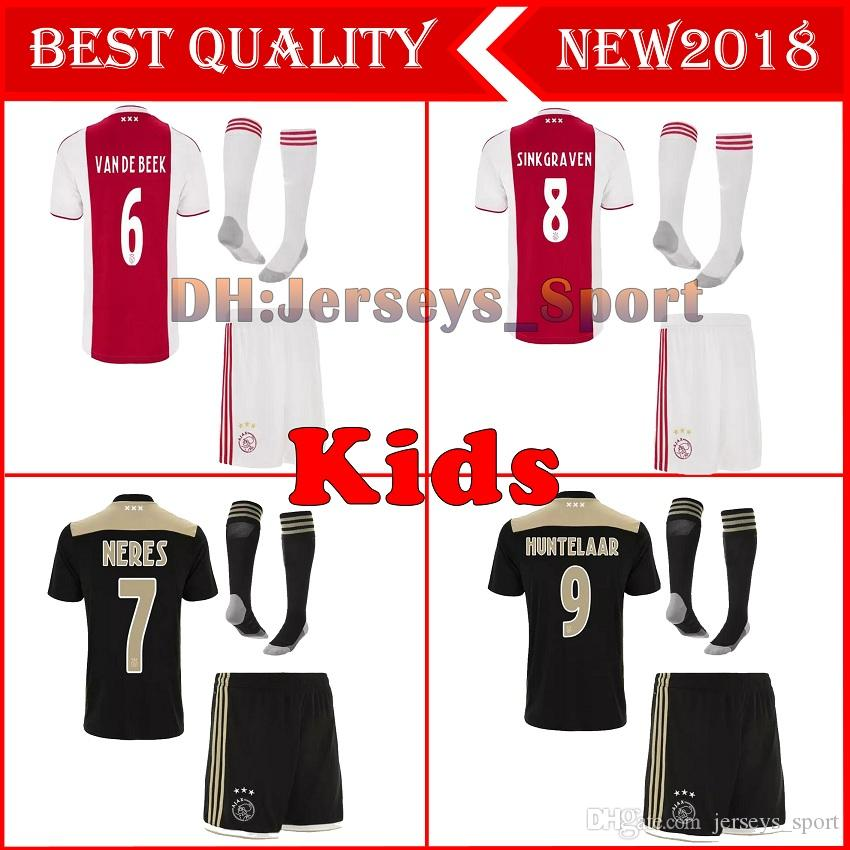 ef9c36381 2018 2019 Best Ajax Kids Soccer Jersey 18 19 Ajax Home Away Children Soccer  Shirt 2019 Customized  10 KLAASSEN  34 NOURI Football Shirt UK 2019 From ...