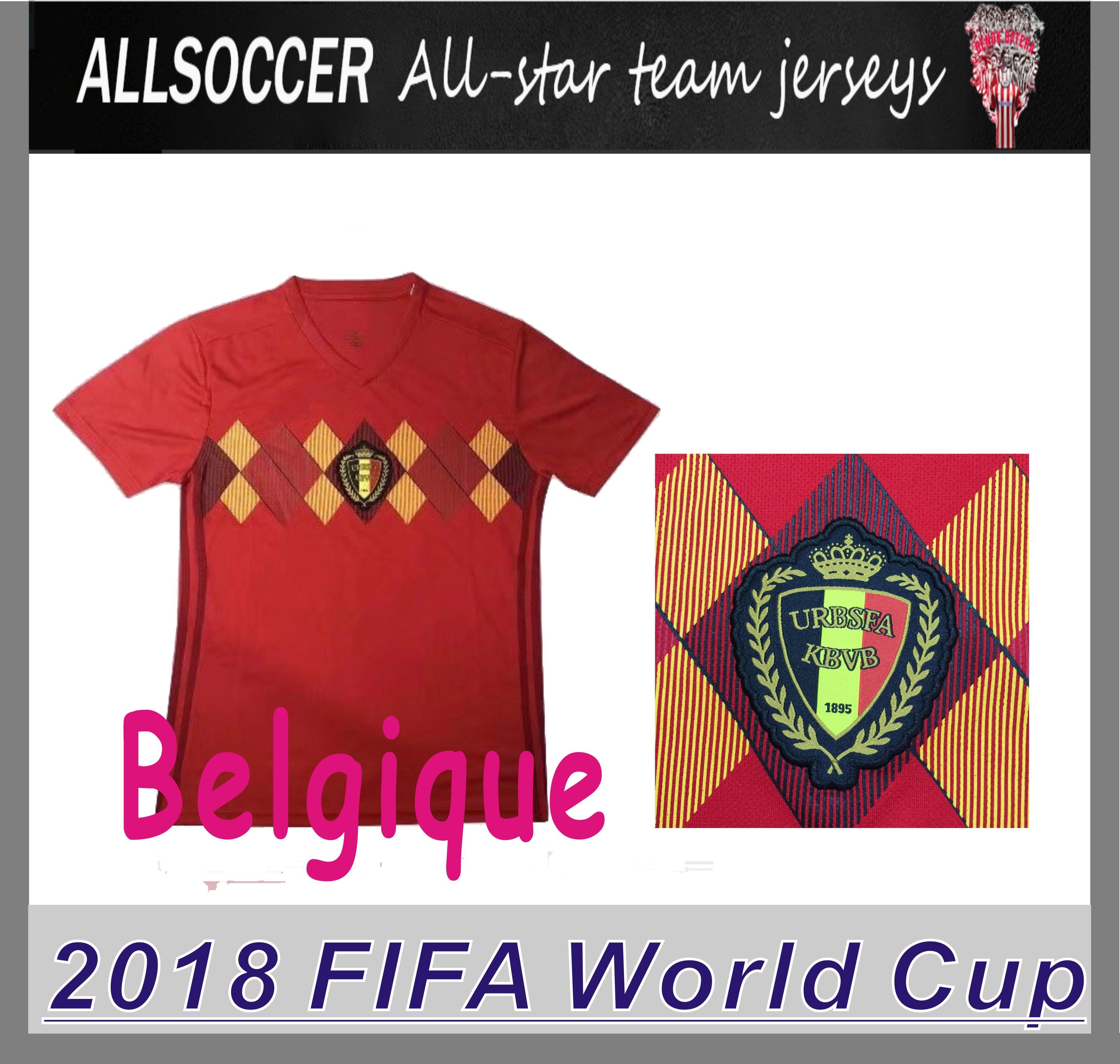 bbdb746cd 2018 World Cup Belgium Top Quality Belgique Home Red Soccer Shirt ...
