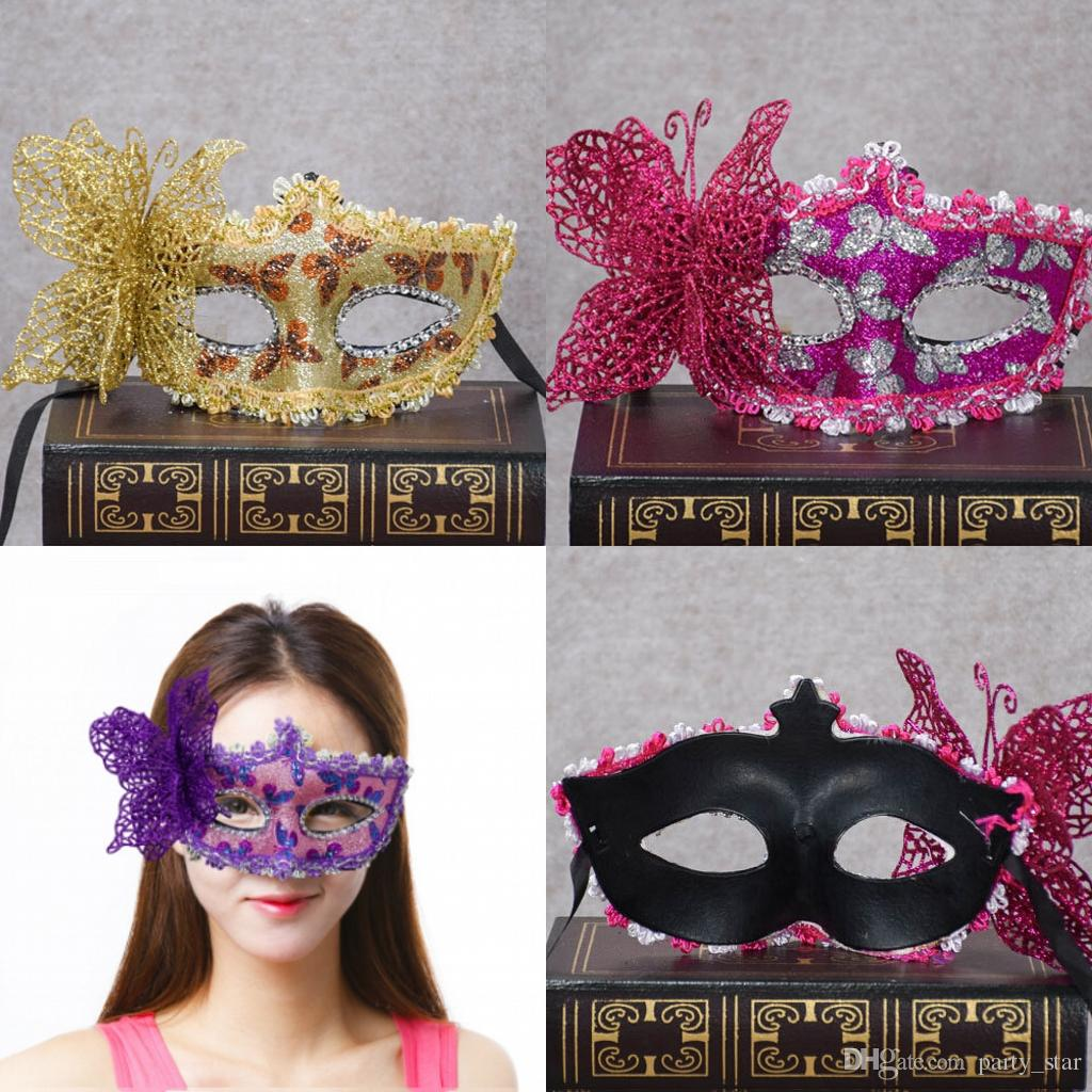 Women Fashion Side Butterfly Decoration Masquerade Costume Party Masks Halloween Carnival Face Masks Birthday Graduation Bar Club Show Masks