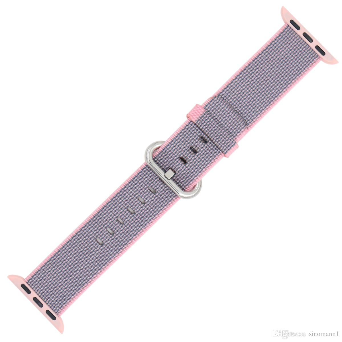 Band For Apple Watch Pink Stripes Woven Nylon Fabric Buckle Watchband 38mm 42mm Sport Strap For iWatch 3/2 Watches Accessories