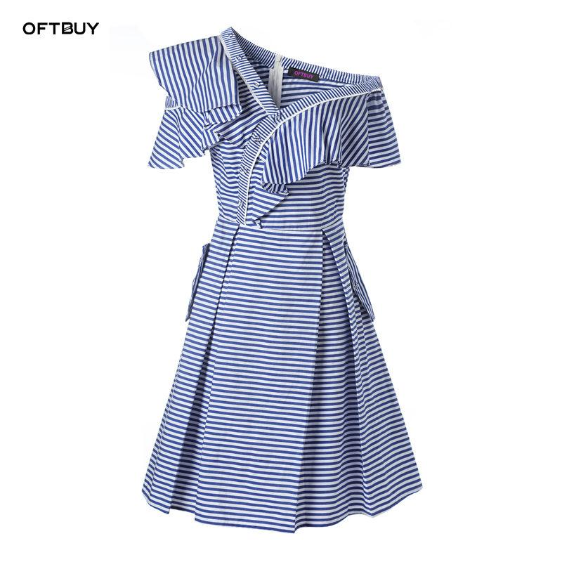 2cee6b29b01 2019 OFTBUY 2018 New Casual Summer Dress Women Dresses Ruffle Off Shoulder  Blue And White Stripe Holiday Mini Beach Dress Vestidos From Rykeri
