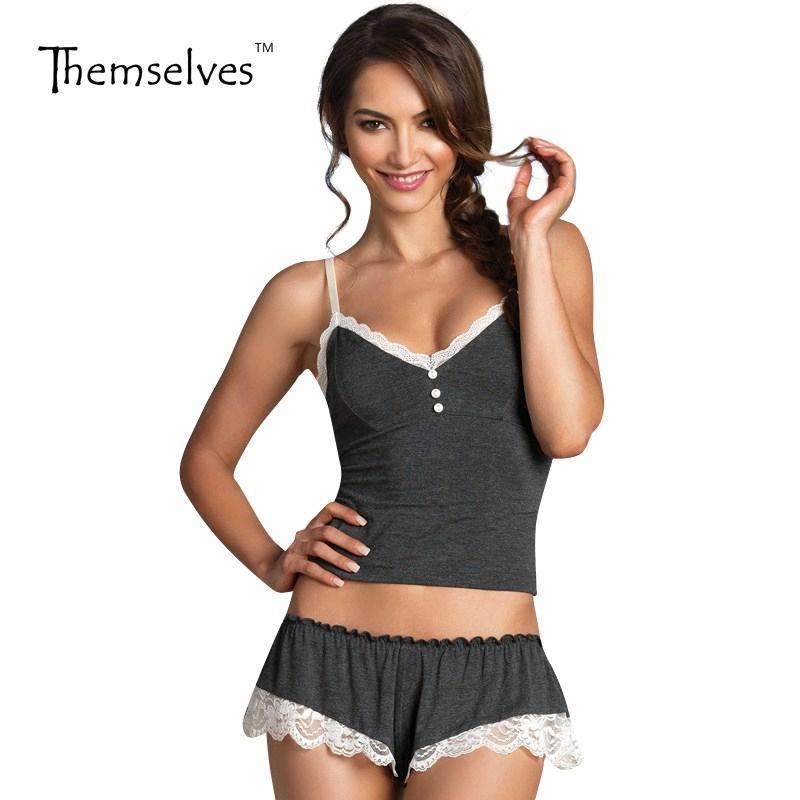 ee0e2865e Compre Ropa De Dormir Corta Para Mujeres Pijamas Set Sexy Correas Pijamas De  Algodón Con Cuello En V Pijamas Mujeres Pijamas Femininas Y1892710 A  21.32  Del ...