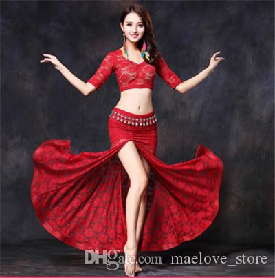 d68bf8e01f Stage Performance Oriental Belly Dancing Clothes 2-pieces Lace Sexy Short  Sleeve Top + High Split Short/Long Skirt Belly Dance Costume