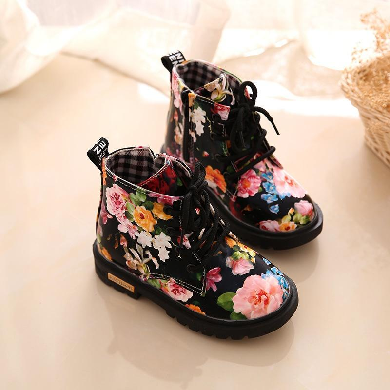 2f0780b563 Fashion Design Printed Floral Martin 2018 Autumn New Children's Shoes  Casual Unique Style Patent Boots for Kids
