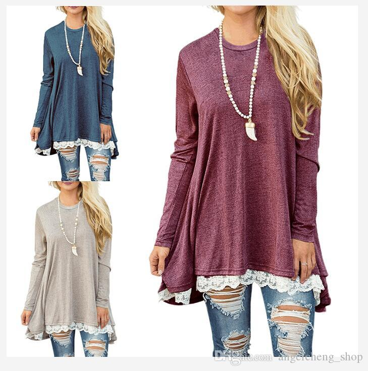 b6af26d8614 Women S Lace LongSleeve Tunic Tops Blouse Round Neck A Line Flowy Shirt  Tunic Tops Pullover Sweater For Leggings 1228  Vintage Tees Unique T Shirts  From ...