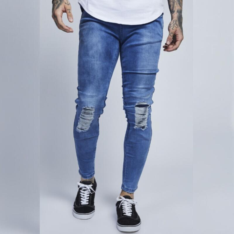 Men's Clothing 2018 New Arrival Slim Fit Fashion Patchwork Denim Ripped Legs Zipper Skinny Jeans For Man Designer Pencil Pants Top Quality